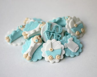Fondant baby cupcake toppers. Baby fondant toppers. Baby shower cupcake toppers. Baby shower fondant toppers.