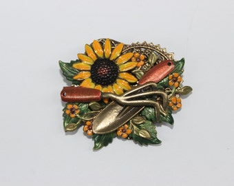Hand Painted Sunflower Gardening Brooch