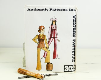 Size 14, Vintage Western yoke flared pants and vest, Authentic Western Patterns (202), Vintage 1970s Sewing Pattern