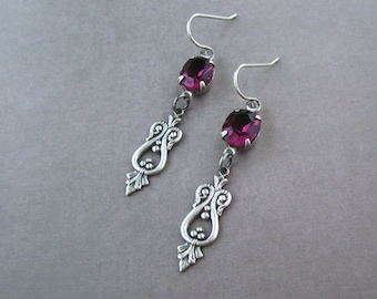 Art Deco Earrings - Plum Purple Crystal - Lightweight