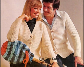 No.238 Men's & Women's Crochet Pattern - Classic Cardigan Sweaters For Men / Women - PDF Vintage - Retro Crochet Pattern - Instant Download