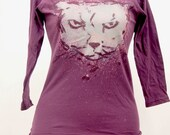 Crabby Cat American Apparel Maroon Girls Hand Screenprinted Boatneck 3/4 Sleeve T-Shirt