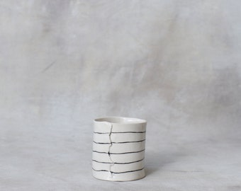 One Porcelain Cup- Short and Striped Made to Order