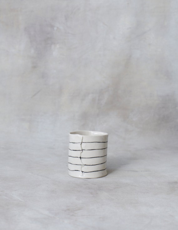 One Porcelain Cup- Short and Striped Ready to Ship