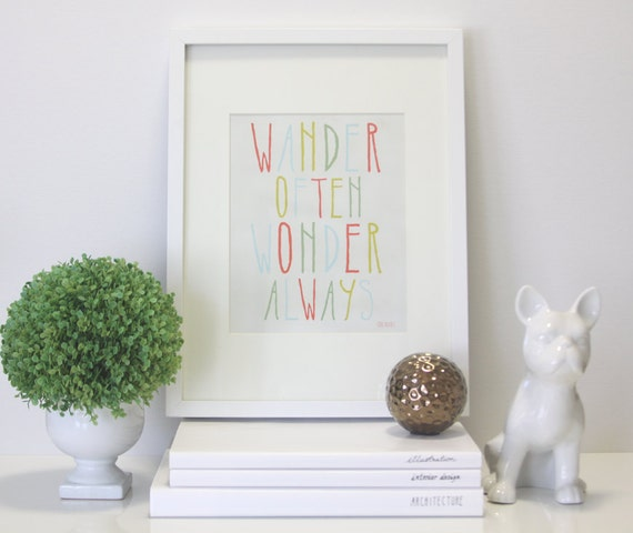 Wander Often Wonder Always® by Hello Small World - Kids Art, Children's Art, Inspirational Print, Nursery, Quote, Hand Lettered, Typography