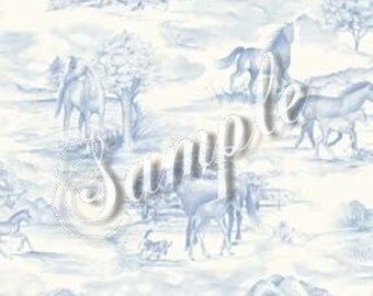 Dolls House Miniature Wallpaper, Blue And White Toile, Scale One Inch