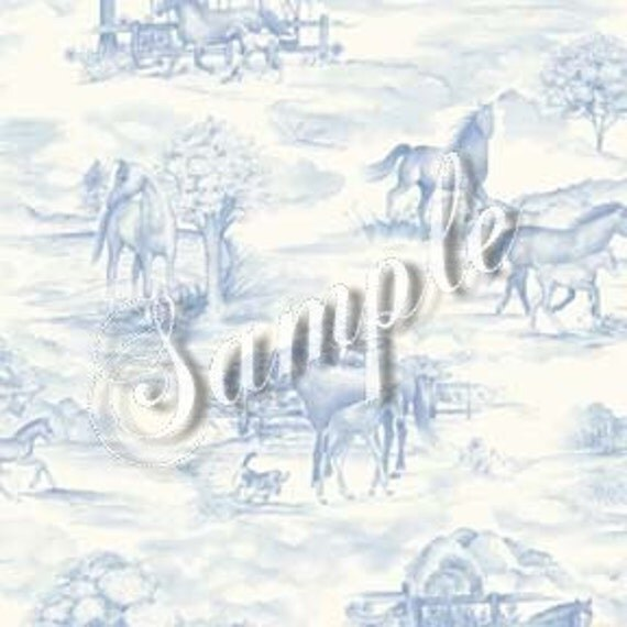 Dolls House Miniature Wallpaper, Equus, Blue And White Toile, Scale One Inch