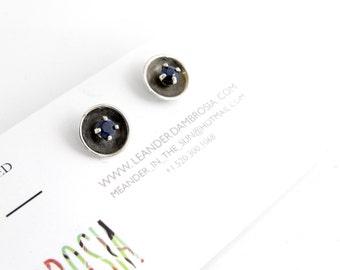 Blue Sapphire Sterling Silver Stud Earrings - Oxidized Black Studs - Dark Blue Gemstone Stud Earrings - Gem Earrings -2mm sapphire gemstones