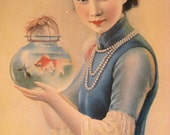 1940s Vintage China Girl Calendar Art Poster Shanghai Beauty with Goldfish Bowl