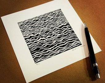 "Waves #1 - limited edition hand pulled fine art block print (7 x 7"")"