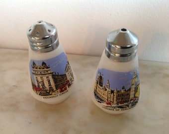 Piccadilly Circus Houses of Parliament Salt and Pepper Shaker Set Vintage Milk Glass London Sites