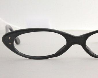 Vintage 50's French Black Horn Cat Eyeglasses Frames