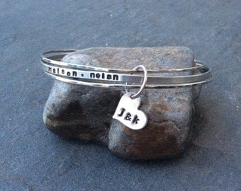 Sterling silver bangle bracelet for Mom, Stackable bangle, Personalized hand stamped bracelet trio