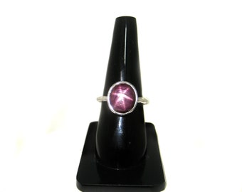 Star Ruby Ring july birthstone Hammered Sterling Silver Natural Star Ruby Gemstone Engagement wedding Ring beautiful christmas gift for her