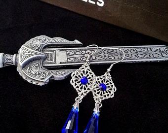 Gothic Crystal Earrings Blue Drop Earrings Silver Filigree Earrings Victorian Gothic Jewelry