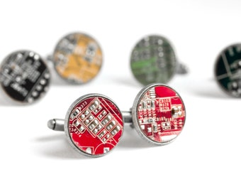 Circuit board Cufflinks - Geek computer cuff links - antique silver
