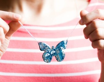Geeky butterfly necklace - contemporary jewelry - recycled computer jewelry