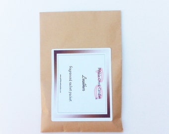 Car Sachet 1 Leather Scented Sachet - Drawer Freshener - Fathers Day Gift Idea Under 10 Stocking Stuffer Can Personalize Direct Ship