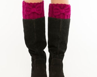 Magenta Bow Crochet Boot Cuffs, Toppers, Warmers, Crocheted, Handmade, Women's Warm Winter Knit Accessory, Knitted Ankle Warmers