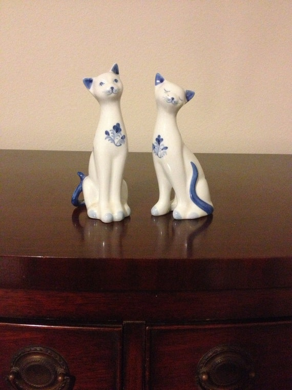 Blue And White Cat Figurines Chinoiserie Oriental Chinese