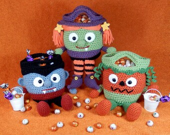 Vampire, Witch and Pumpkin, Bucket Heads Trick or Treat Bag Pattern for Halloween