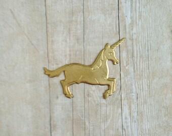 Brass Unicorn Brooch
