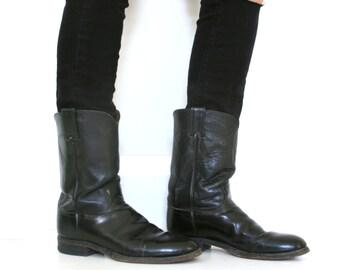 Vintage Justin Boots Black Leather Roper Men's Size 8 1/2 D Women's Size 10