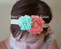 Coral Aqua Mint Green Flower Ivory Headband - Shabby Chiffon Flower Hair Bow - Baby Girl Toddler Hairbow Photo Prop - Easter Spring Summer