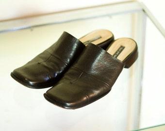 Vintage Black Costume National Slip On Mules Slides 7
