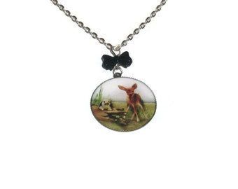 Woodland Animal Necklace, Deer and Rabbit, Fawn and Bunny Cute Black Bow Pendant, , Kitsch Jewelry