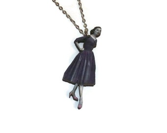 Vintage Model Necklace, Fashion Dress Vintage Print Wooden Pendant Quirky Kitsch Jewelry, Retro