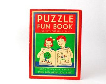 Vtg 1955 Illustrated Children's Puzzle Fun Book