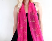 Hot Pink & Gold Scarf - Origami Paper Cranes Chiffon Scarf