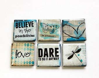 Square Magnets, Magnets, Fridge Magnets, Kitchen Magnets, Magnets, button magnets, Motivational, Words of wisdom, Blue, Abstract (4612)