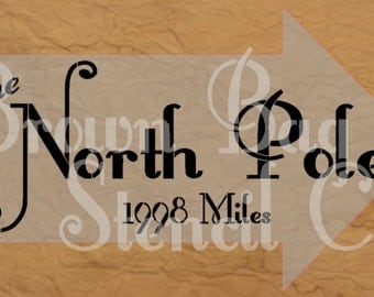 Christmas Stencil - North Pole  - 12x20 -  Christmas Stencil