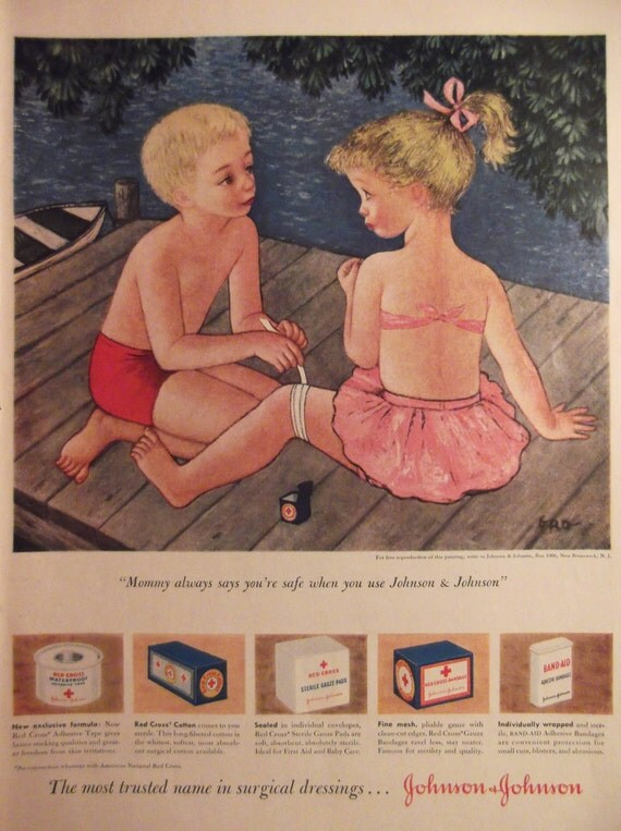Johnson johnson bandages original vintage 1950s ad bathroom for Bathroom accessories ads