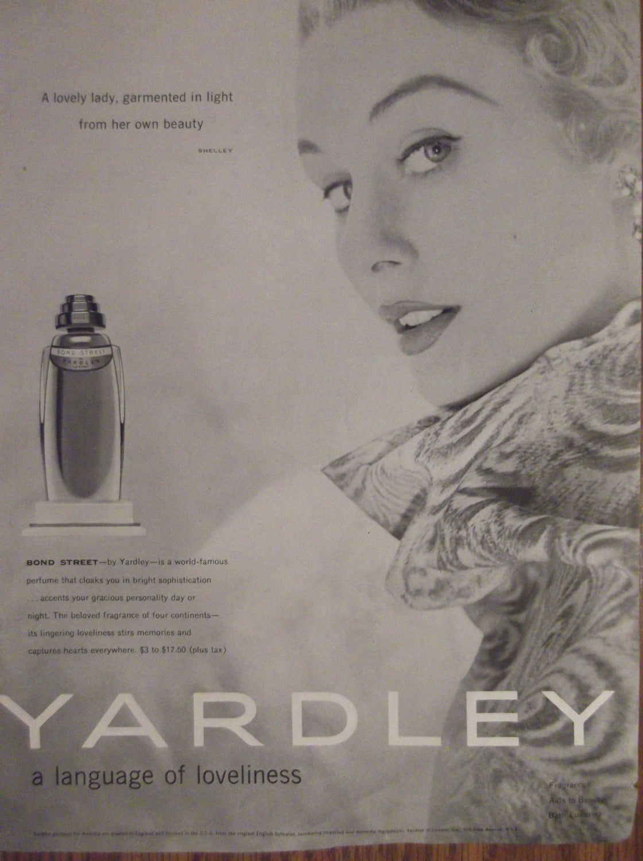 YARDLEY BOND STREET Perfume Original 1950s Vintage Advertising