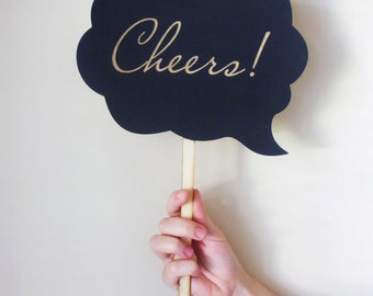 Speech Bubble Personalized Engraved Wooden Sign on Stick for Wedding, Engagement, Maternity or Pregnancy Photo Props