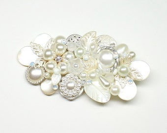 Pearl Bridal Hair Comb- Wedding Hair Piece-Vintage Hair Accessories-Statement Bridal hairpiece-Ivory Bridal clip-Pearl Hairpiece-Bridal Hair