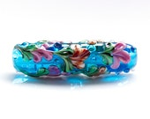 Floral Lampwork Glass Focal Bead (27099)