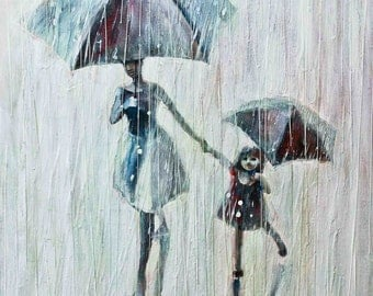 Sisters.    2011  Oil Painting, Print on  Rolled canvas, Fine art print, Painting Umbrellas ans rain