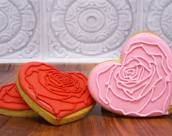 Decorated Cookies - Rose Hearts - 1 DOZEN
