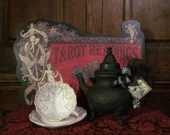 Witches Cast Iron Teapot ~ Apothecary, witchery, ritual, altar, incense, pentacle, tea, pentagram, witches, teas, teacup, tea set, coven