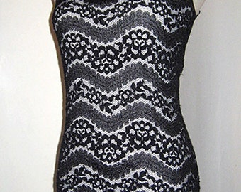 Beautiful Black Lace over White, Formal Full Length Dress, Size Small