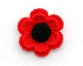Crochet Poppy Flower - Crochet Brooch - Red Glitter Flower - Crochet Applique - Made to Order