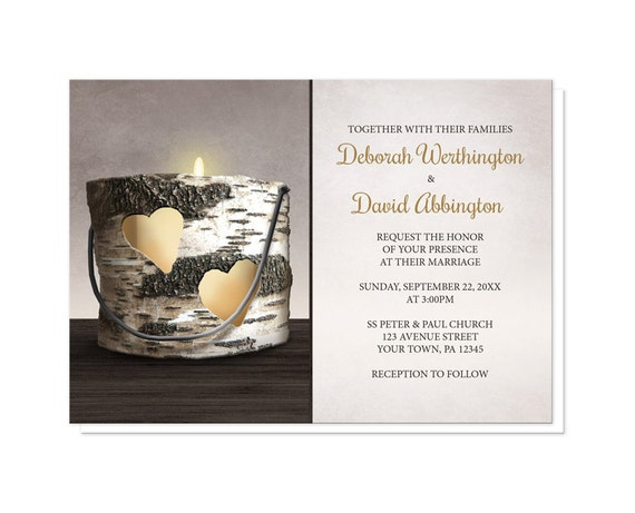 Candlelight Wedding Invitations: Rustic Candle Wedding Invitations And RSVP