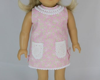Floral Pink Shift Dress and Headband for American Girl Doll