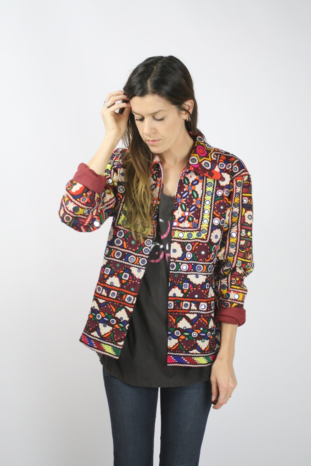 gypsy jacket bohemian blazer coat mirror embroidered vintage