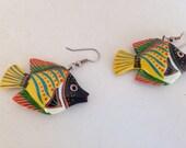 Vintage fish dangle earrings colorful pierced 1980