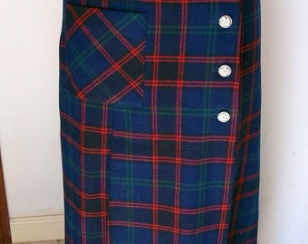 Vintage Agile plaid long wool skirt with side pocket and lined SIze 10